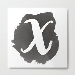 """""""X"""" Monogram, Watercolor Design Metal Print"""