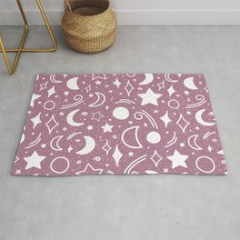 Galaxy sky pattern with moons and stars lilac purple color Rug
