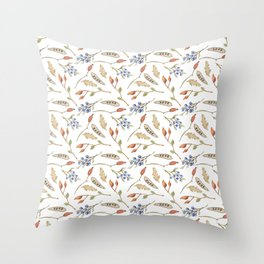 Fall watercolor blue coral orange brown leaves berries Throw Pillow