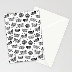 Linocut black and white butterflies butterfly garden nature minimalist pattern art decor Stationery Cards