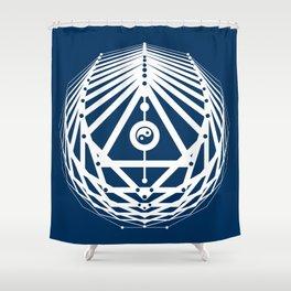 Radiant Abundance (blue-white) Shower Curtain