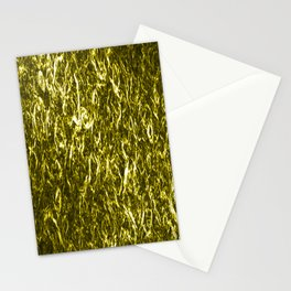 Vertical metal texture of bright highlights on gold waves. Stationery Cards