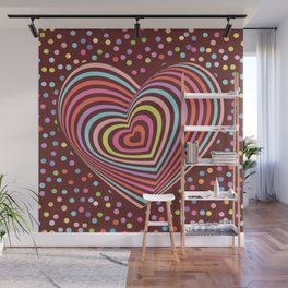 multi-colored rainbow heart on dark brown background. 3D Wall Mural