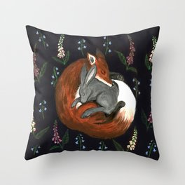 Foxgloves and Harebells Throw Pillow