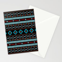 Aztec Blues Reds Black Mixed Motifs Pattern Stationery Cards