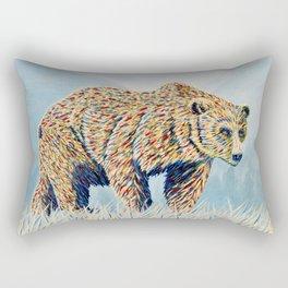 Colorful Bear in the Grass Rectangular Pillow