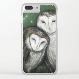 Soul Mates (Barn Owls) Clear iPhone Case