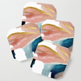 Exhale: a pretty, minimal, acrylic piece in pinks, blues, and gold Coaster