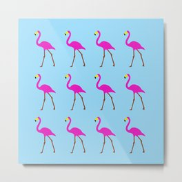 Flamingos in blue Metal Print