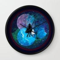 night sky Wall Clocks featuring Night Sky by Selly Nia