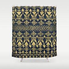 Norwegian Pattern – Gold on Navy Shower Curtain