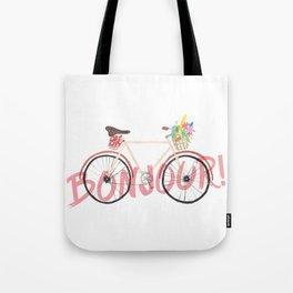 Bonjour! Bicycle Tote Bag