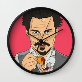 Johnny Depp With Chicken Nugget Wall Clock