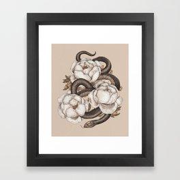 Snake and Peonies Framed Art Print
