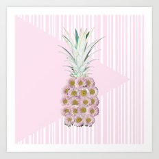 Floral Pineapple Stripes Pink Art Print