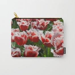 Big red roses with green leaves and white top edges Carry-All Pouch