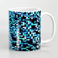 pixel art Mugs featuring Turquoise Blue Aqua Black Pixels by 2sweet4words Designs