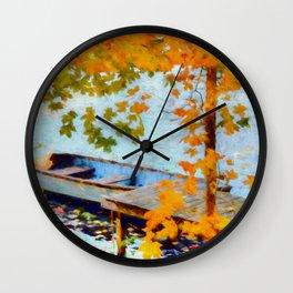 Boat Under Falling Leaves Wall Clock