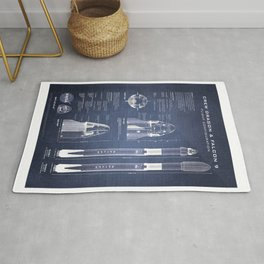 NASA SpaceX Crew Dragon Spacecraft & Falcon 9 Rocket Blueprint in High Resolution (dark blue) Rug