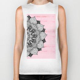 Artistic Boho Hand Drawn Mandala on Pink Tie Dye Biker Tank