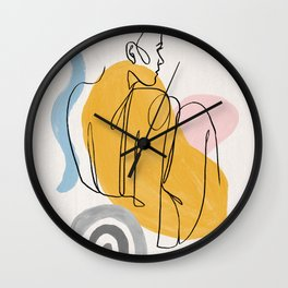 Female Line Art, Line Drawing, One Line, Female Figure Wall Clock