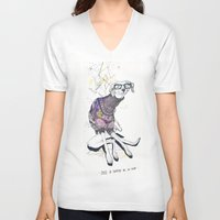 dog V-neck T-shirts featuring Dog by Anion