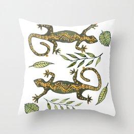 Lady Gecko Throw Pillow