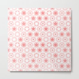 Geometric pink girls kids circles and stars seamless pattern on white background Metal Print