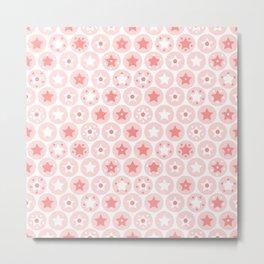 Geometric pink girls kids circles and stars seamless pattern on white background Metal Print