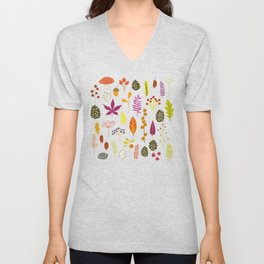Fall Autumn Nature Forest Bits Unisex V-Neck