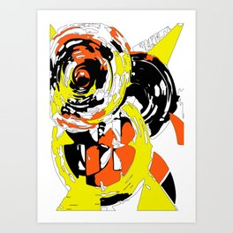 Yellow orange black astract composition 1 Art Print