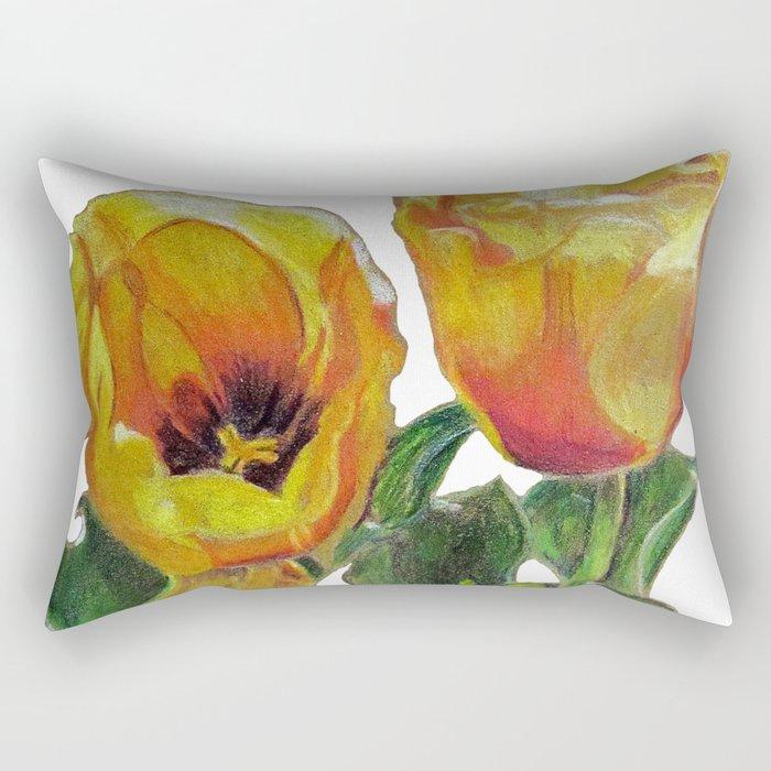 Bright Yellow Tulips Flower Drawing Rectangular Pillow