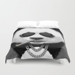 Panda in Black Duvet Cover