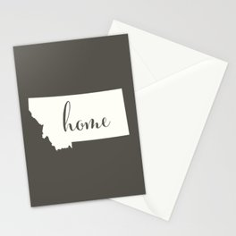 Montana is Home - White on Charcoal Stationery Cards