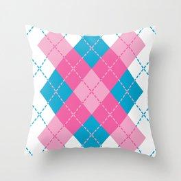 Pink-Blue Argyle Design Throw Pillow