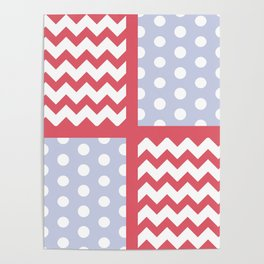 Light Red/Pastel Blue Chevron/Polkadot Pale Color Pop Zigzag Poster
