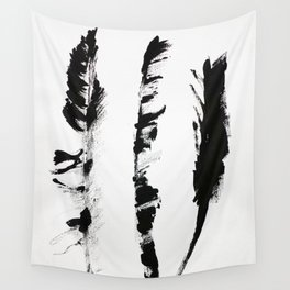 Black & white three abstract feathers illustration Wall Tapestry