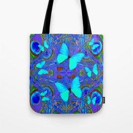 BLUE NEON BUTTERFLIES &  BLUE LINE PURPLE DRAWING Tote Bag