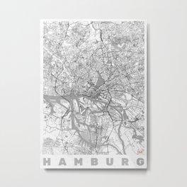 Hamburg Map Line Metal Print