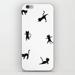 Black cats doing yoga iPhone Skin