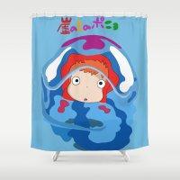 ponyo Shower Curtains featuring gake no ue no ponyo by Avengedrian