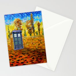 Blue phone Booth at Fall Grass Field Painting Stationery Cards