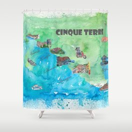 Cinque 5 Terre Italy Favorite Travel Map with touristic Top Ten Highlights Shower Curtain