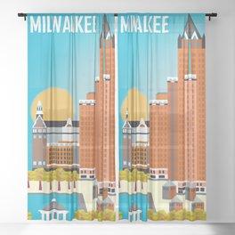 Milwaukee, Wisconsin - Skyline Illustration by Loose Petals Sheer Curtain
