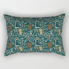 Narnia Lucy Aslan Edmund Teal And Cream Repeat Pattern  Rectangular Pillow