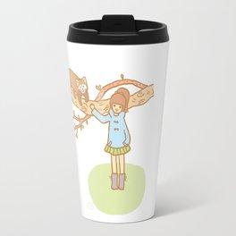 Girl with a red panda Travel Mug