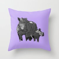 newspaper Throw Pillows featuring Newspaper Rhinoceros by Doolin