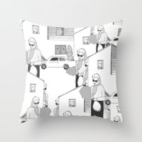 the neighbourhood Throw Pillows featuring Into the neighbourhood by Fiona Kate