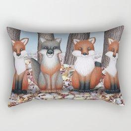 fox friends (with chickadees) Rectangular Pillow