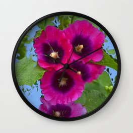 FUCHSIA PURPLE ENGLISH HOLLYHOCKS Wall Clock